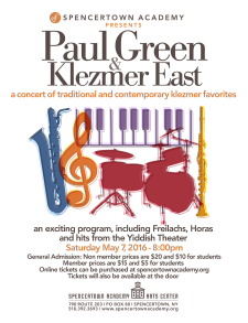 Paul Green and Klezmer East Poster