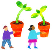illustration of children with flower pots