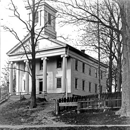 Spencertown Academy exterior historical photo in black and white