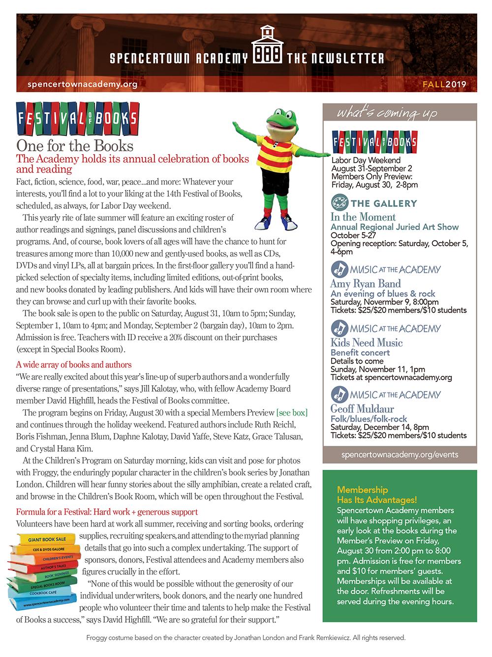 Spencertown Academy Fall 2019 Newsletter Cover