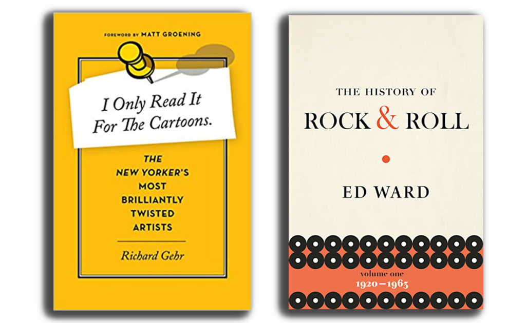 """Book covers of """"I Only Read it For the Cartoons"""" and """"The History of Rock & Roll"""""""