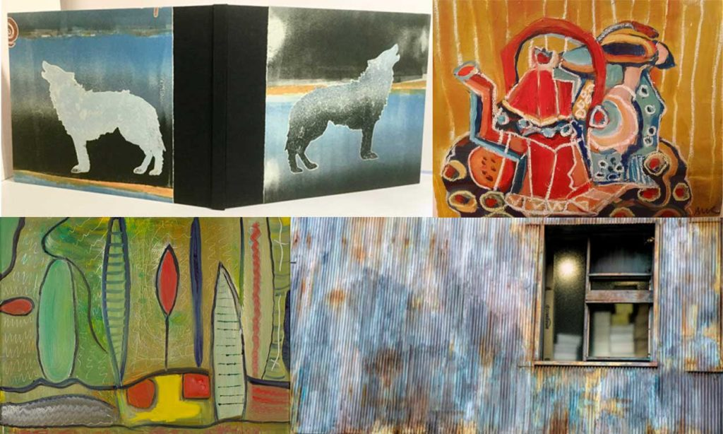 Collage: Carl Berg: Weathered Wall, Norma Cohen: Red Cocoa Pot, Jody Schoenfeld: Boatyard, Valerie Richmond: Wolf Dreams