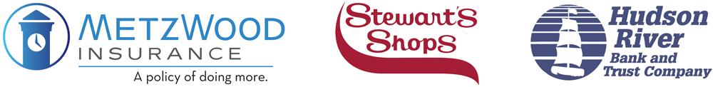 MetzWood Logo, Stewart's Shop logo and Hudson River Bank and Trust logo