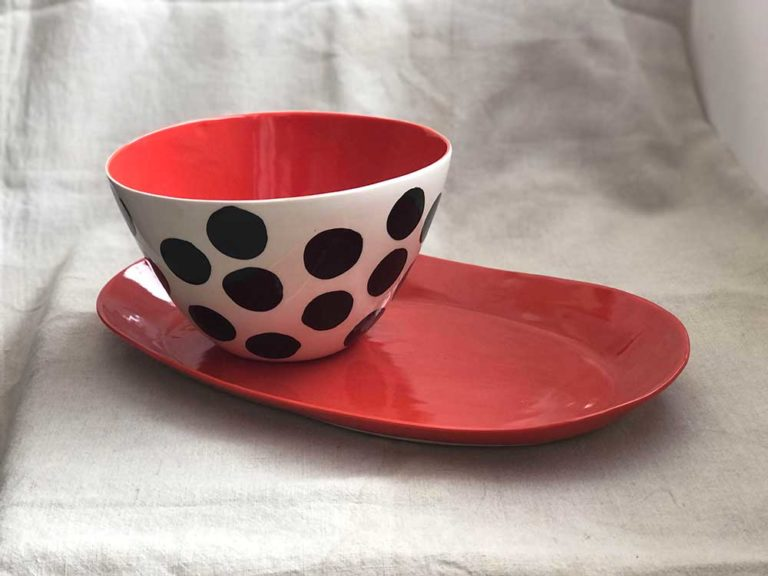 Mary Anne Davis High Bowl and Large Red Platter