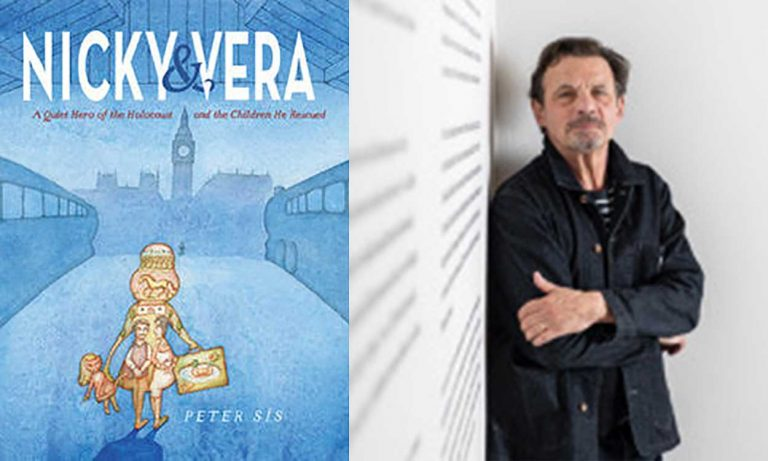 Author Peter Sis and his book cover for Nicky & Vera