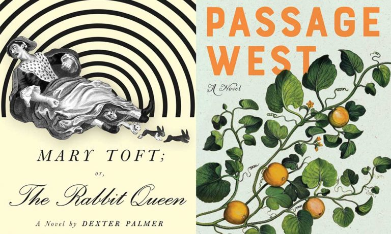 Two book covers - The Rabbit Queen and Passage West