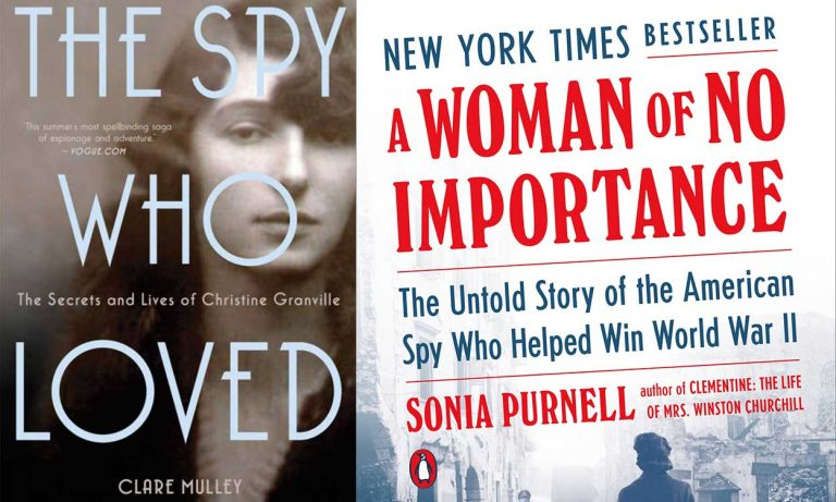 """Book covers of Sonia Purnell's A Woman of No Importance"""" and Clare Mulley's """"The Spy Who Loved"""""""